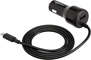 AmazonBasics USB-C Car Charger with 18W USB-C Cable and 12W USB-A Port