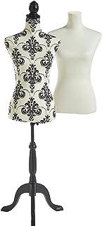 Beautify Mannequin Buste de Couture Femme Taille 36/38 avec 2 Revêtements Vêtements Présentoir De Fenêtre Blanc et Noir - ...