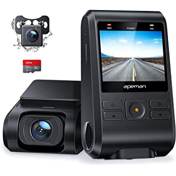 APEMAN Dash Cam, Front and Rear Camera for Cars 1080P, SD Card Included, Support GPS, IPS Screen, Night Vision, 170°Wide Angle, Motion Detection, Loop Recording, G-Sensor, Parking Monitor, WDR