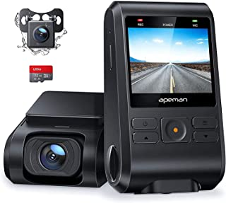 APEMAN Dash Cam, Front and Rear Camera for Cars FHD 1080P 170° Wide Angle Support GPS, Motion Detection, Night Vision, G-S...