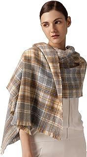 翎 オーストラリア産 ウール 100% マフラー レディース ストール 羊毛 スカーフ 暖かい チェック 秋冬 ギフト プレゼント