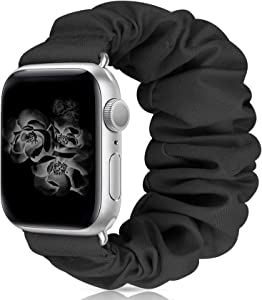 MEULOT Scrunchie Watch Bands for Women Compatible with Apple Watch Bands Series 4 3 6 5 2 1 SE, Soft Elastic Replacement Wristband for iWatch Bands 38mm 40mm 42mm 44mm (Black 38mm 40mm M)