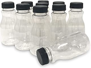 CSBD 8 Oz Clear Plastic Juice Bottles with Snap On Lids, BPA Free, PET Plastic, Made in USA, 10 Pack