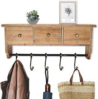 Coat Rack Shelf Wall Mounted Rustic Organizer Shelf with Hooks and Baskets, Solid Wooden Shelf Rack for Entryway, Bedroom and Bathroom