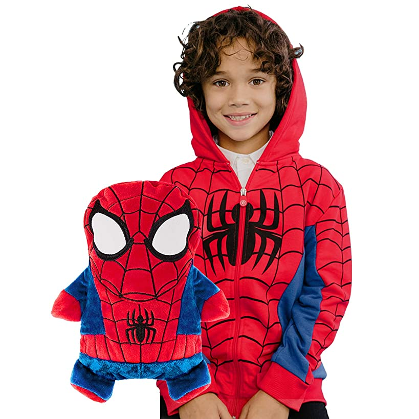 CUBCOATS Spider-Man - 2-in-1 Transforming Hoodie & Soft Plushie - Red & Blue