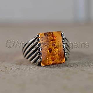 Baltic Amber Gemstone Silver Ring, Channel Setting Design Ring, Solid 925 Sterling Silver Ring, Silver Signet Jewelry, Biker Wedding Ring, Amber Mens Ring, Huge Gemstone Ring, Gift For Him