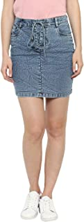 StyleStone Women's Denim Skirt with Draw String (Blue, Small)