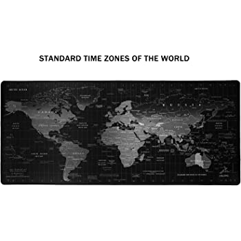 JIALONG Gaming Mouse Pad Large Size 35.4 X 15.7X 0.12inches Desk Mousepad with Personalized Design for Laptop, Computer PC - Black World Map with Time