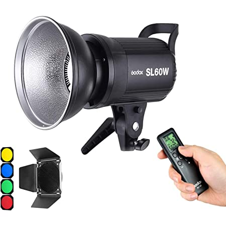 Godox SL-60W 60W CRI95+ Qa>90 5600±300K Bowens Mount Led Continuous Video Light with BD-04 Barn Door,Wirelessly Adjust Brightness, 433MHz Grouping System,for Video Recording,Wedding,Outdoor Shooting