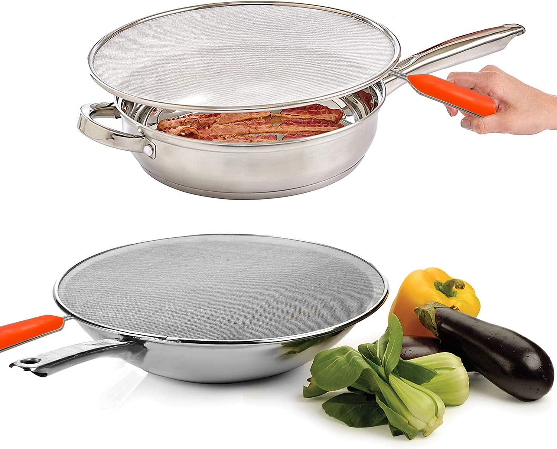 Kitchen Frying Pan Splatter Screen Cover Guard Protective Lid Mesh Black