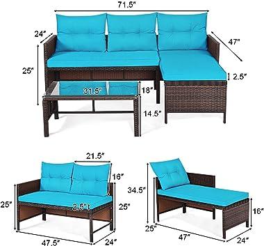 Tangkula Patio Corner Sofa Set 3 Piece, Outdoor Rattan Sofa Set, Includes Lounge Chaise, Loveseat & Coffee Table, Patio G