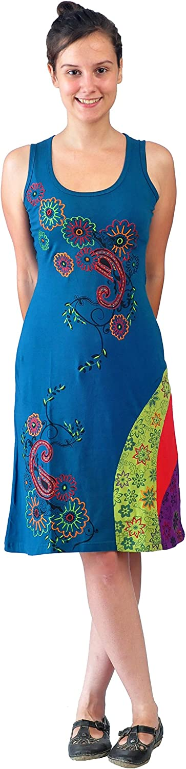 Women's Summer Sleeveless Dress With colorful Flower Embroidery