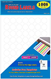 Pack of 1008, 1-inch Diameter Round Dot Labels, White, 8 1/2 x 11 Inch Sheet, Fits All Laser/Inkjet Printers, 63 Labels per Sheet, 1
