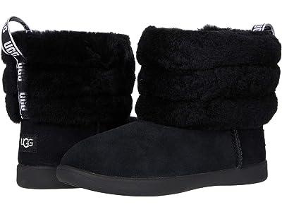 UGG Kids Mini Quilted Fluff (Toddler/Little Kid) (Black) Girls Shoes
