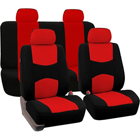FH Group FB030RED115 full seat cover Side Airbag Compatible with Split Bench Red