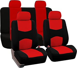 FH Group Universal Fit Full Set Flat Cloth Fabric Car Seat Cover, (Red/Black) (FH-FB050114, Fit Most Car, Truck, Suv, or Van)