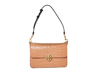 Tory Burch Chelsea Embossed Convertible Shoulder Bag (Chai) Handbags