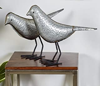 "Deco 79 44526 Metal Bird Sculpture (Set of 2), 12""/13""H"