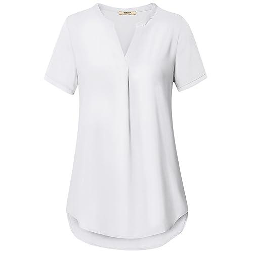 8f79b70fb1fd86 Timeson Women's V Neck Short Sleeve Curved Hem Sheer Chiffon Blouse Shirts  Tops