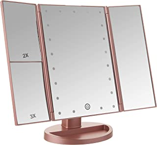 BESTOPE Makeup Vanity Mirror with 3x/2x MagnificationTrifold Mirror with 21 Led LightsTouch Screen 180° Adjustable RotationDual Power Supply Countertop Cosmetic Mirror