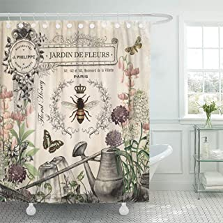 Semtomn Shower Curtain Modern French Bee Garden Vintage Queen Floral Watering Can..