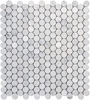carrara marble penny round tile
