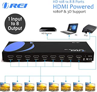 Orei HD-108 1x8 8 Ports HDMI Powered Splitter for Full HD 1080P & 3D Support (One Input to Eight Outputs) (Renewed)