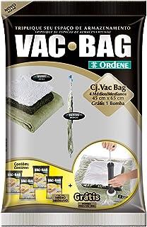 Conjunto Armazenamento à Vácuo, Vac Bag, 4 Sacos Médios (45 cmx65 cm) + Bomba Plástica, Ordene Br, Multicor