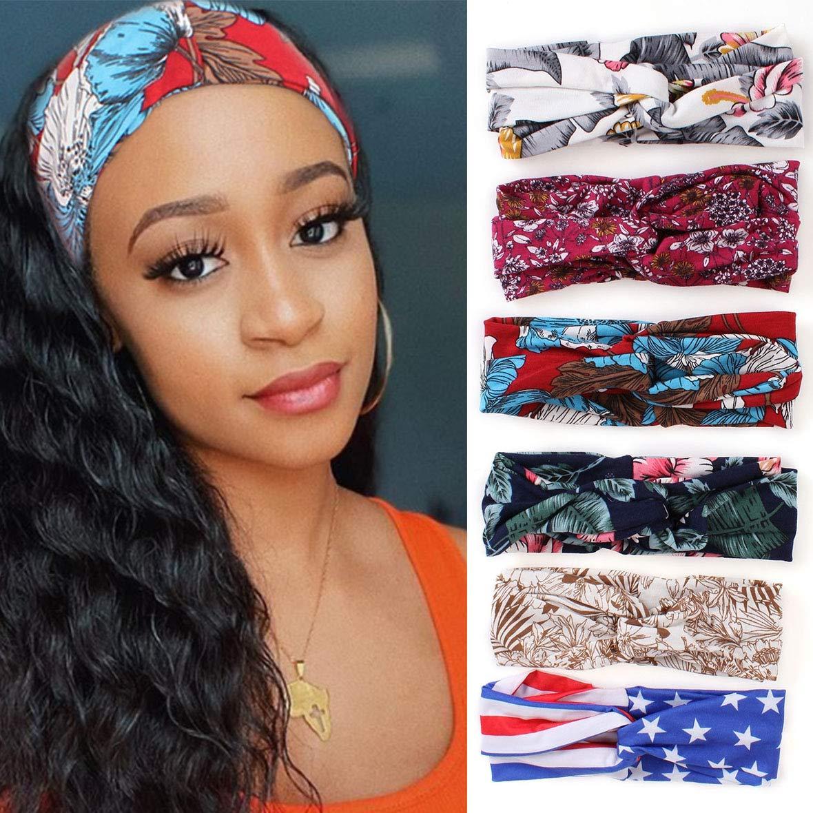 Xtrend 6 Pcs Women's Max 62% OFF Headband Twi Flower Printing New products, world's highest quality popular! Boho Headbands