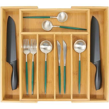 Organiseur de tiroir extensible en bambou pour couverts, support d'ustensiles en bois multifonction, 5 à 7 compartiments