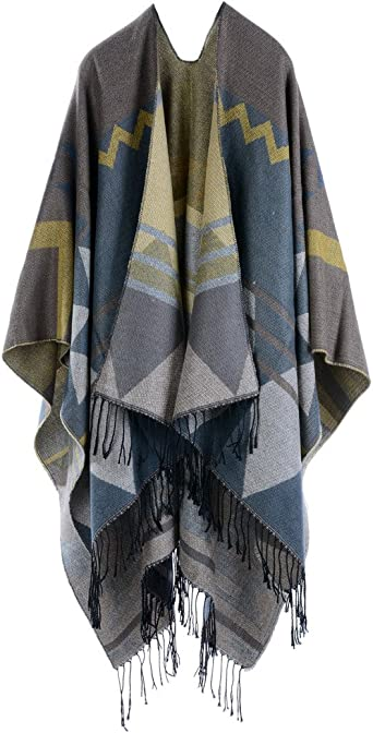 paire de moufles Cardigan printemps /ét/é automne hiver Cape Femme Dames Tricot Carreaux Tartan Style Poncho