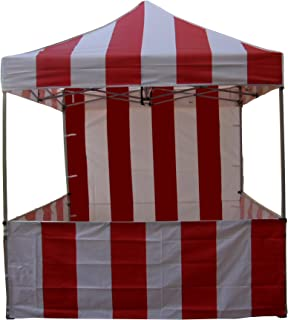 Impact Canopy 8' x 8' Pop-Up Canopy Tent, Carnival Tent Kit with Powder-Coated Steel Frame, Sidewall, and Half Walls, Red/White Stripe