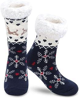 Gebell, Calcetines de invierno antideslizantes con forro polar, suaves, mullidos, de punto, para mujeres y niñas