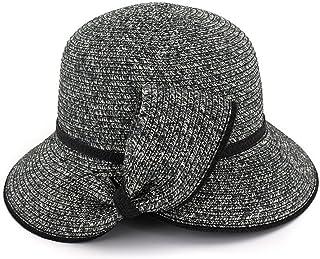 Fashion Beach Sun Hats for Women Summer Large Brimmed Straw Hat Folding Cap Single Bow Elegance Hats & Caps (Color : Bronze)