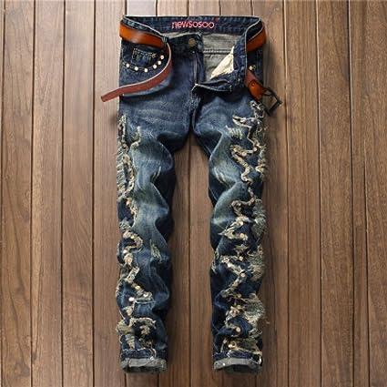 Hoonmis Nuevos Pantalones De Mezclilla Vaqueros De Estilo Europeo Americano Para Hombre Pantalones De Mezclilla De Diseno Recto Para Hombre Azul Pantalones Vaqueros Plisados 38 Amazon Es Hogar