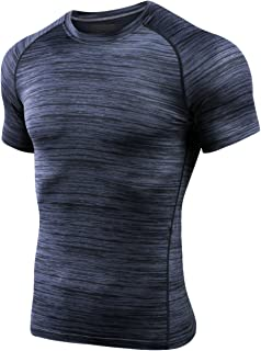 MTSCE Men's Athletic Compression Shirts Quick Dry Short Sleeve Fitness Running T-Shirts(XL Grey)