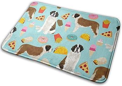 """Saint Bernard Dog Dogs and Junk Food Designs Tacos Fries Donuts - Blue_16507 Doormat Entrance Mat Floor Mat Rug Indoor/Outdoor/Front Door/Bathroom Mats Rubber Non Slip 23.6"""" X 15.8"""""""