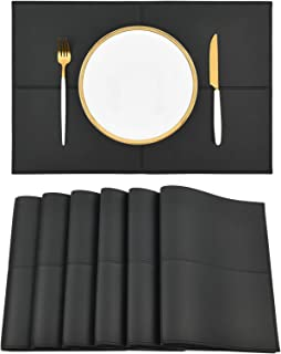 Punkspace Reversible Black Faux Leather Placemats Set of 6 Heat and Stain Resistant Table Mats Waterproof Easy to Clean Wa...