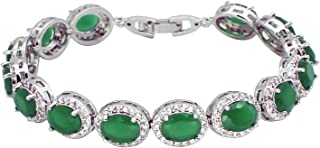 Oval Ladies Tennis Bracelet Sapphire Ruby Emerald White Topaz Silver 7 inch