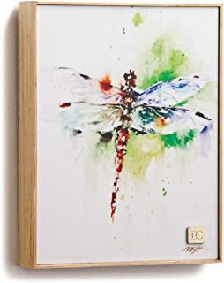 DEMDACO Dean Crouser Fly Away Dragonfly Gallery Wrapped Canvas Print 10 x 8 Ash Wood Framed Wall Art Plaque