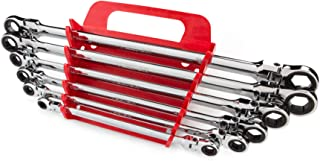 TEKTON WRN77164 Extra Long Flex-Head Ratcheting Box End Wrench Set with Store and Go Keeper, Metric, 8 mm - 19 mm, 6-Piece (Renewed)