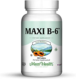 "Maxi Health B-6 - Vitamin B6 -""100 mg"" - Cardiovascular Health - 100 Tablets - Kosher (Pack of 2)"