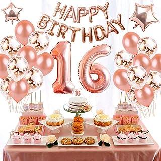 Crazy-M Juego Deco de cumpleaños Número 16 Globo Chica de Oro Rosa, Fiesta de cumpleaños Deco