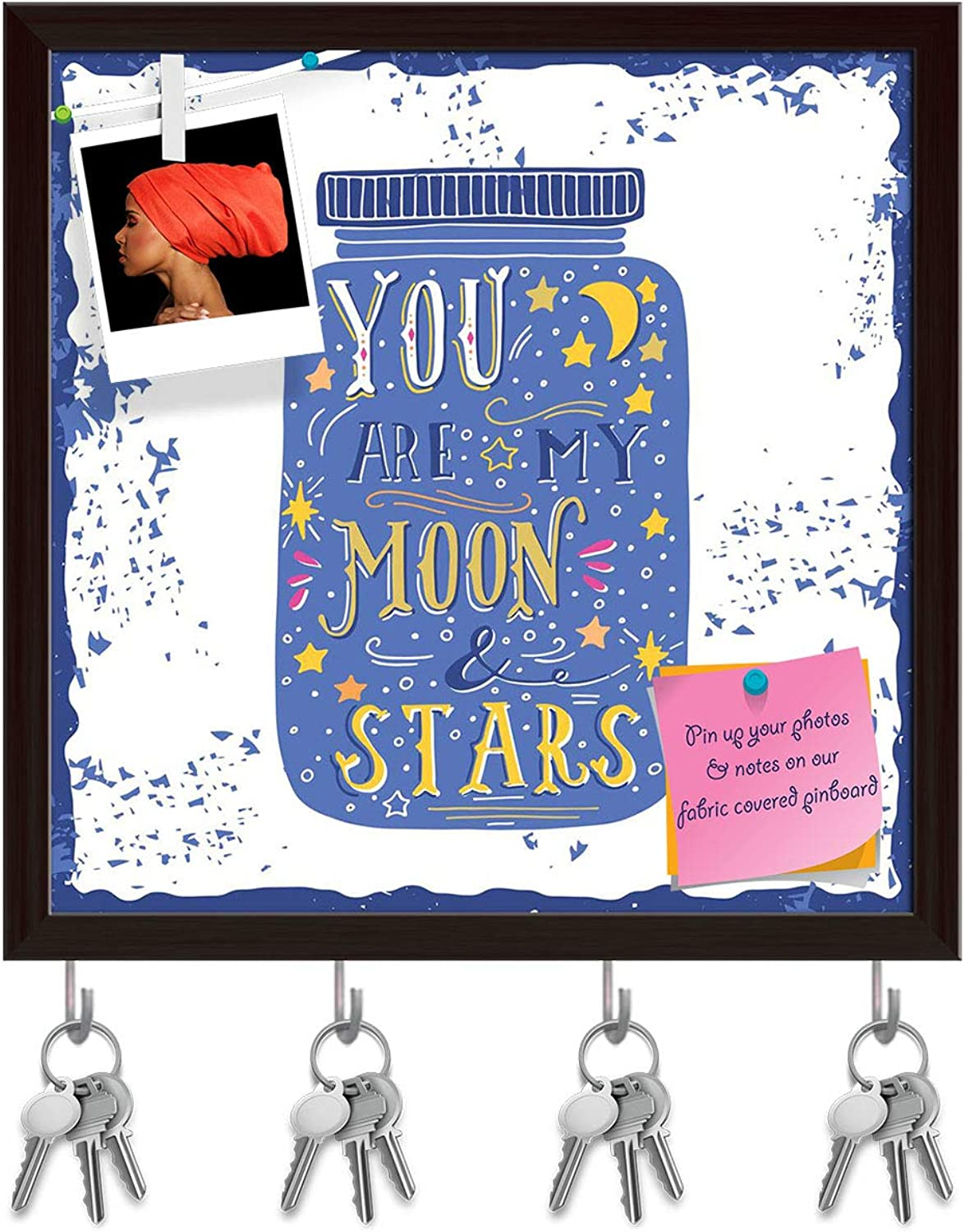 Artzfolio You are My Moon & Stars D3 Key Holder Hooks   Notice Pin Board   Dark Brown Frame 8 X 8Inch