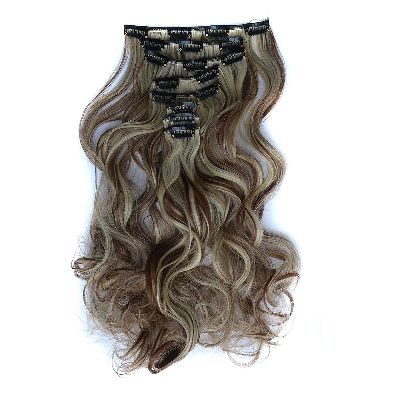 祭り最悪Doyvanntgo 45cm化学合成髪のエクステンション17clips / 7pウィッグエクステンションの長いカーリーヘアカラーの茶色茶色の黒色のピックステイン (Color : Brown black pick stain)