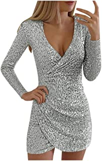 SEXYTOP Women's Sexy V-Neck Wrap Pure Color Sequins Mini Dresses Long Sleeves Slim Fit Elegant Ladies Club Party Dress