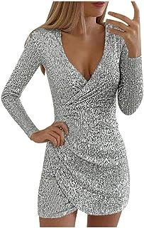 Vestido de mujer elegante con cuello en V, vestido de mujer de manga larga, mini vestido sexy con lentejuelas, vestido de ...