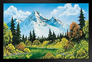 Bob Ross Meadow Lake Art Print Painting Black Wood Framed Art Poster 14x20