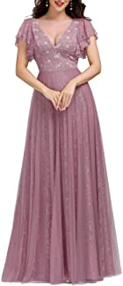 Ever-Pretty Vestito da Cerimonia Donna Linea ad A Pizzo Tulle Scollo a V Maniche Corte Lungo 00857