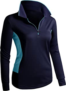 CLOVERY Women's Sport Wear Long Sleeve 2-Tone Zip-up POLO Shirt